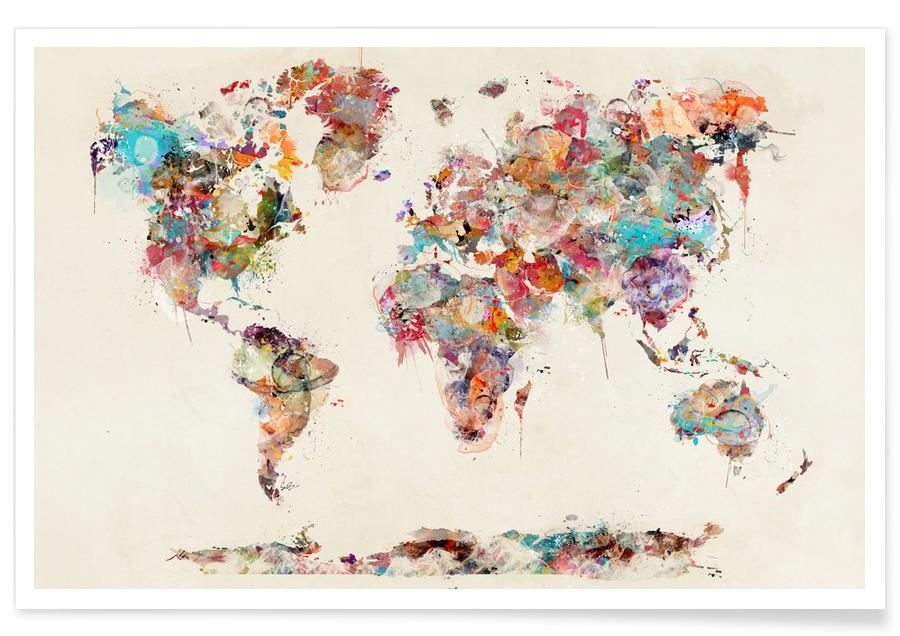 Verdenskort, World Map Watercolor Plakat