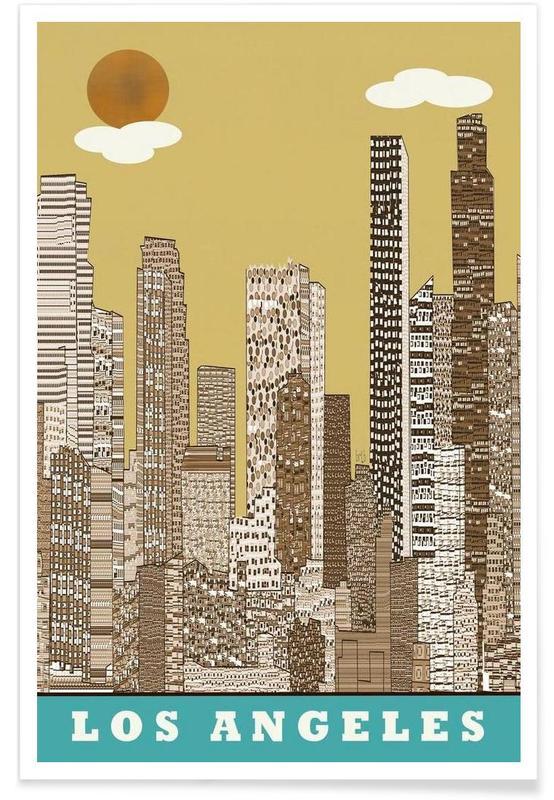 Los Angeles, Gratte-ciels, los angeles vintage affiche