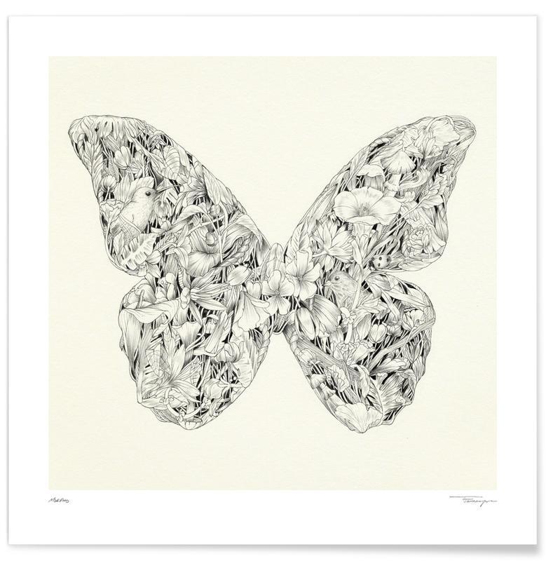 Noir & blanc, Papillons, Morpho affiche