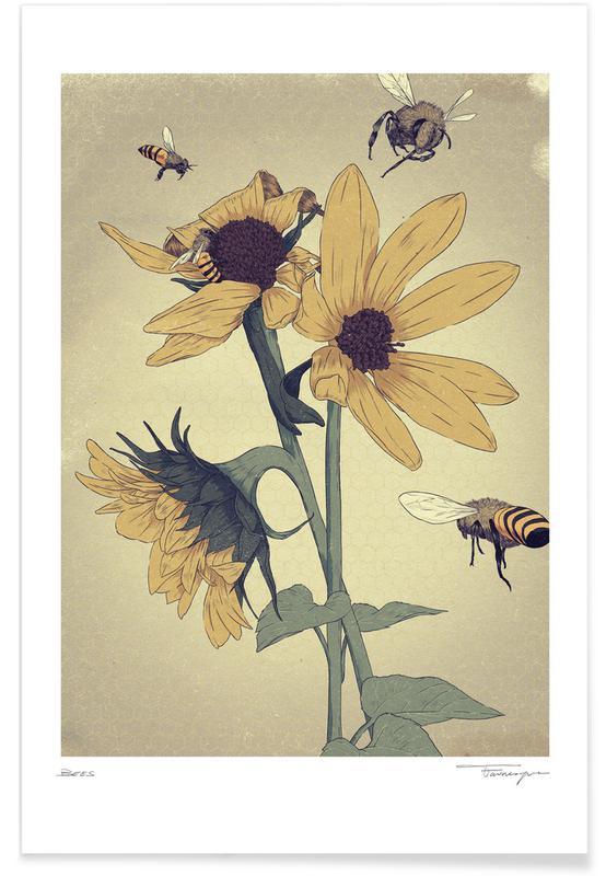 Bier, Solsikker, Bees Plakat