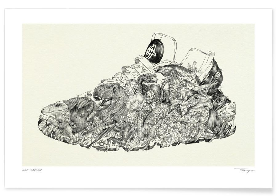 Noir & blanc, Illustrations de mode, Huarache affiche