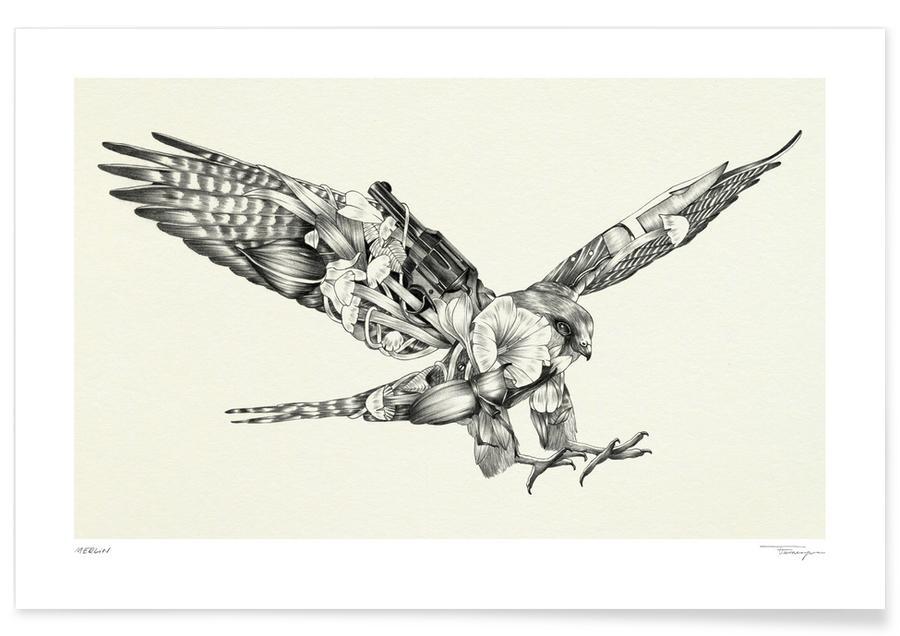 Schwarz & Weiß, Adler, Merlin -Poster