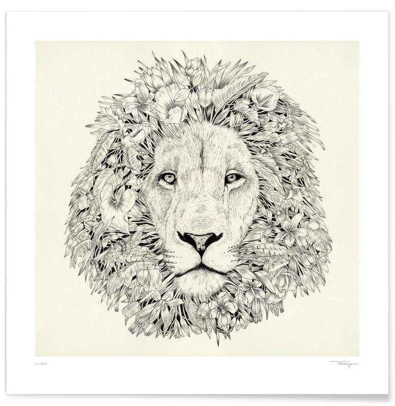 Noir & blanc, Lions, Lion affiche
