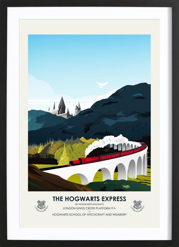 Hogwarts Express affiche sous cadre en bois