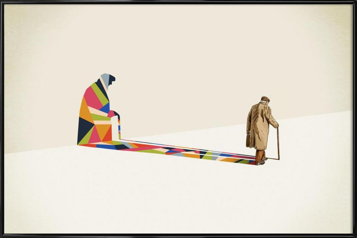 Walking Shadow - Old Man Framed Poster