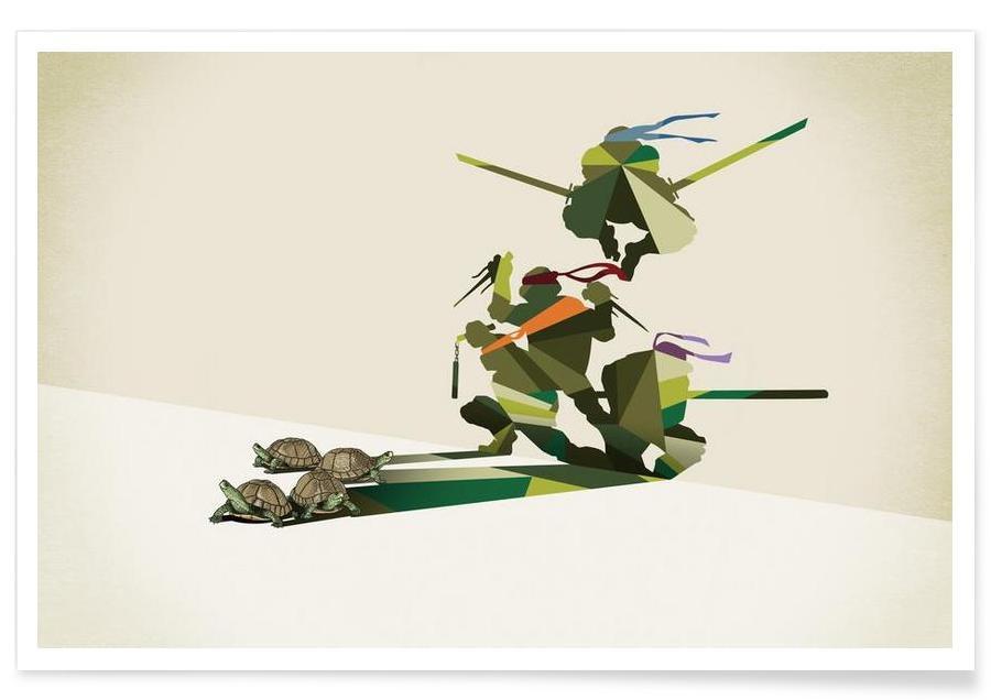 Børneværelse & kunst for børn, Skildpadder, Walking Shadow - Turtles Plakat