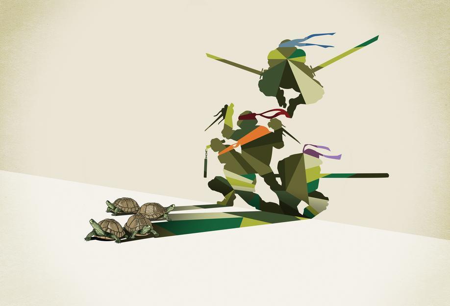 Walking Shadow - Turtles tableau en verre