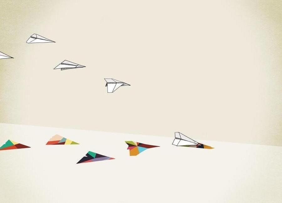 Walking Shadow - Paper Planes -Leinwandbild