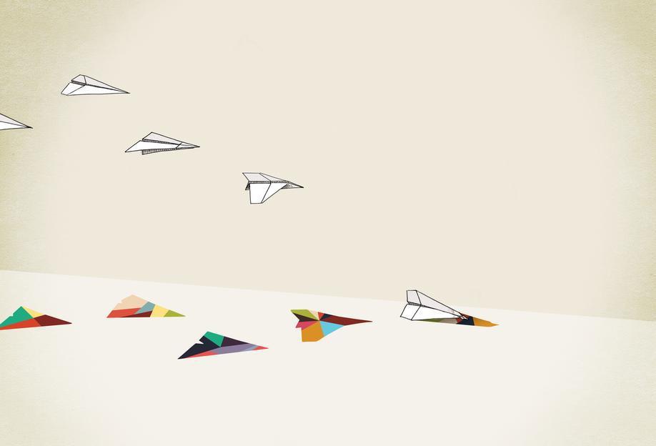 Walking Shadow - Paper Planes Aluminium Print