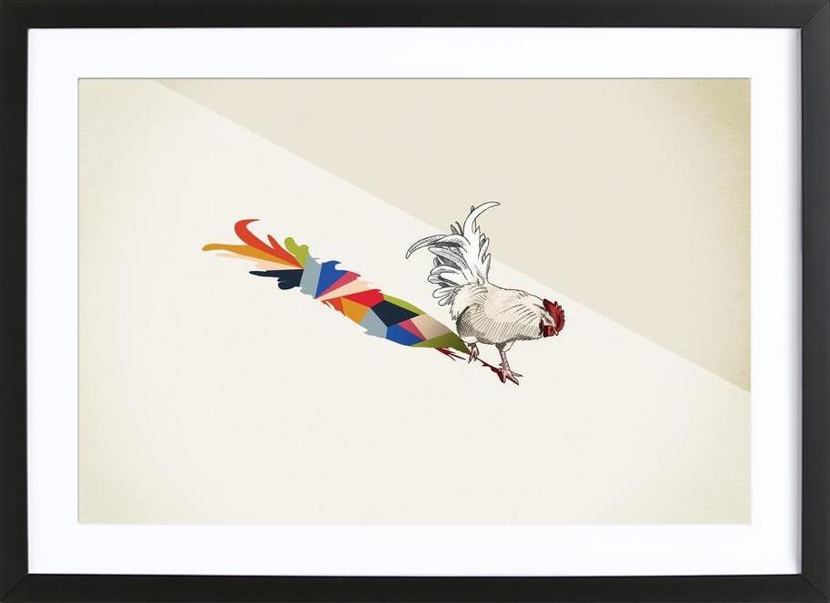 Walking Shadow - Rooster -Bild mit Holzrahmen