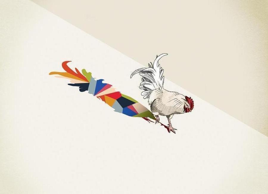 Walking Shadow - Rooster -Leinwandbild