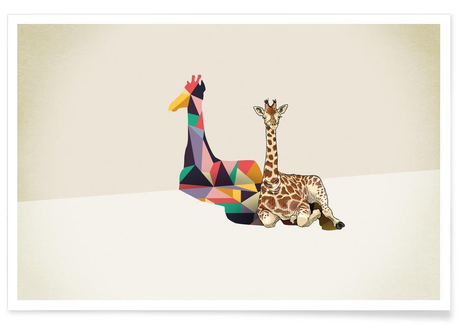 Girafes, Walking Shadow - Giraffe affiche