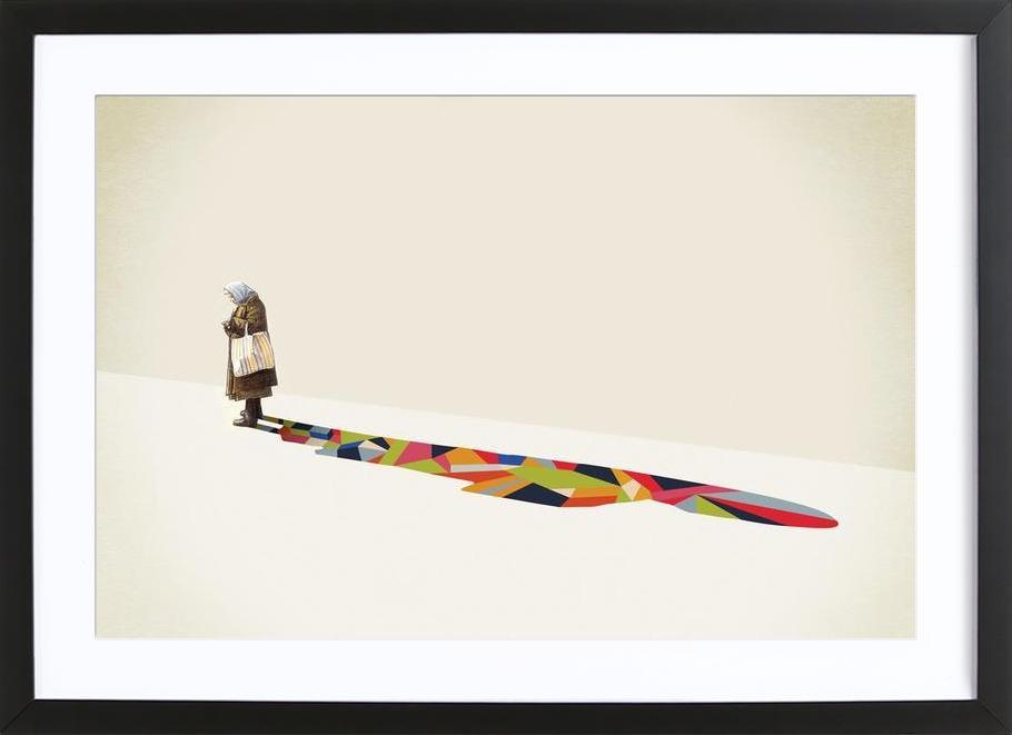 Walking Shadow - Old Woman Framed Print