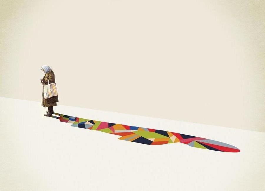 Walking Shadow - Old Woman canvas doek