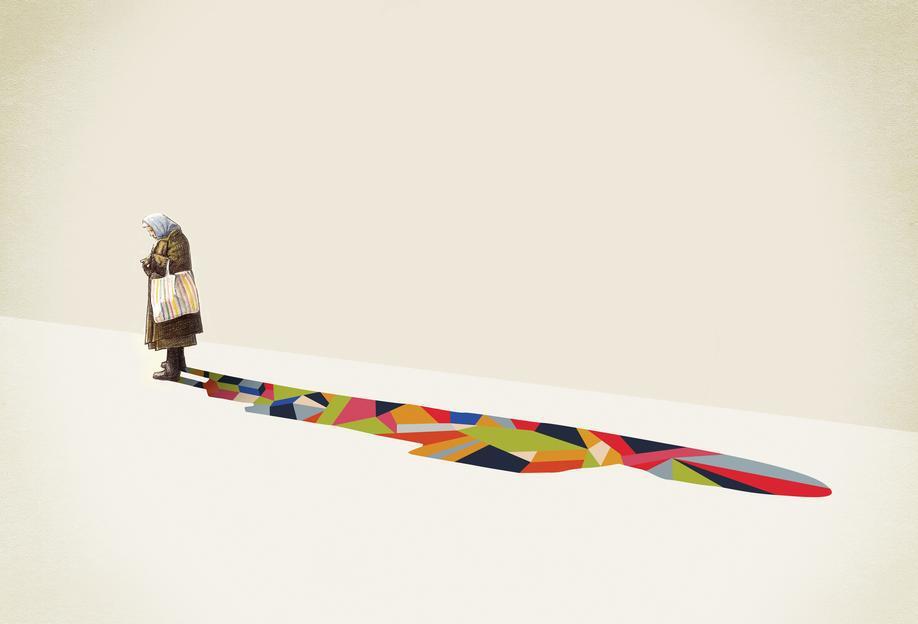 Walking Shadow - Old Woman acrylglas print