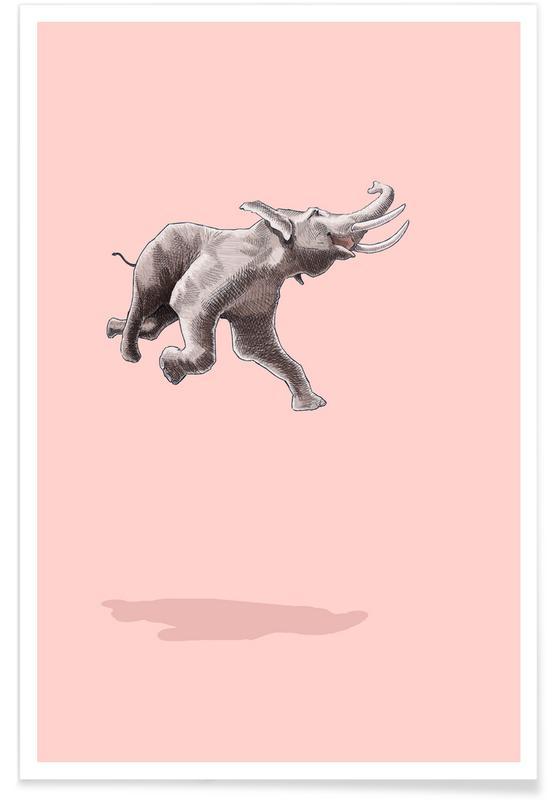 Éléphants, Art pour enfants, Float Like a Bird affiche