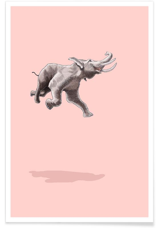 Elephants, Nursery & Art for Kids, Float Like a Bird Poster