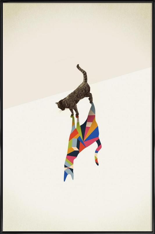 Walking Shadow - Cat Framed Poster