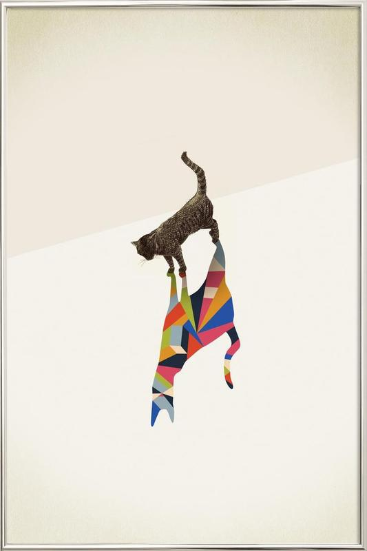 Walking Shadow - Cat Poster in Aluminium Frame