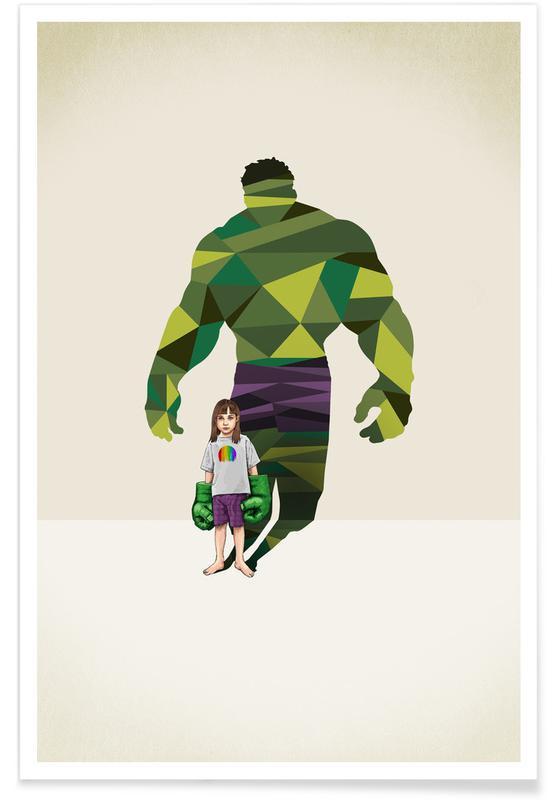 Kinderzimmer & Kunst für Kinder, Super Shadows Girl Smash -Poster