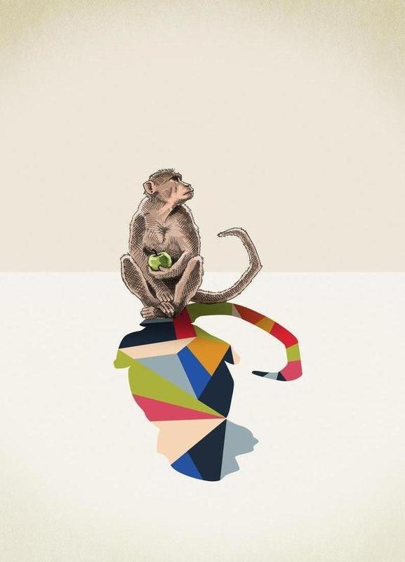 Walking Shadow - Monkey -Leinwandbild