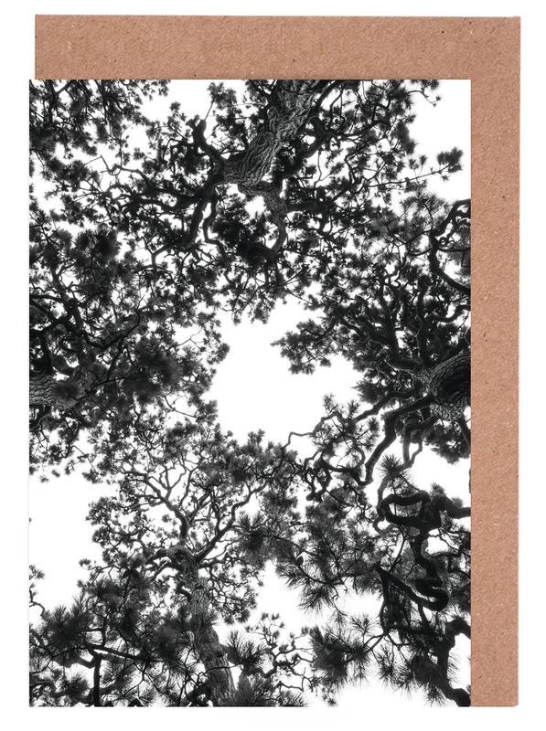 Wälder, Bäume, Schwarz & Weiß, Japanese Garden 4 -Grußkarten-Set