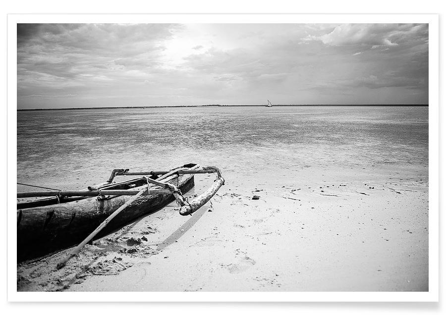 Ocean, Lake & Seascape, Black & White, Beaches, Boats, Mozam Poster