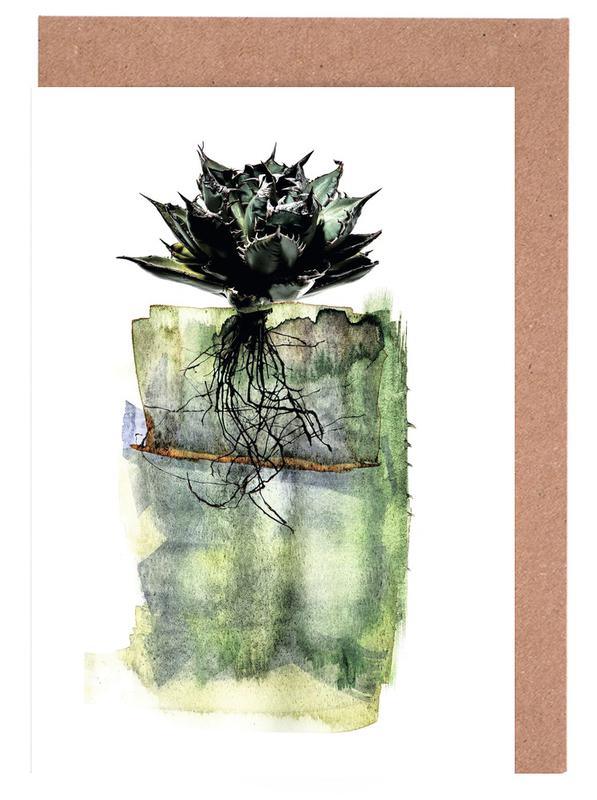 Kaktus, Blätter & Pflanzen, Agave -Grußkarten-Set