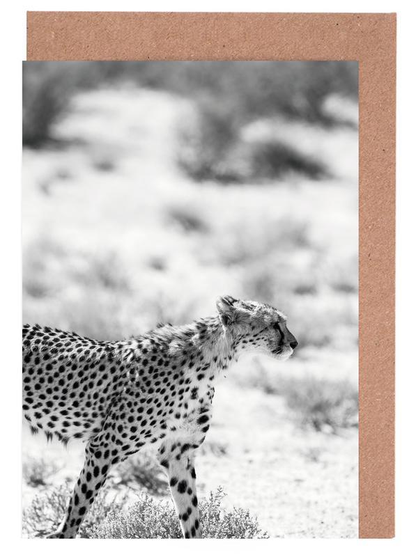 Leoparden, Schwarz & Weiß, Safari Kat -Grußkarten-Set