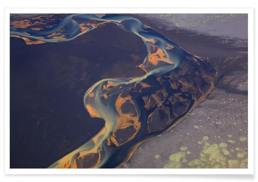 Color patterns of river on sand affiche