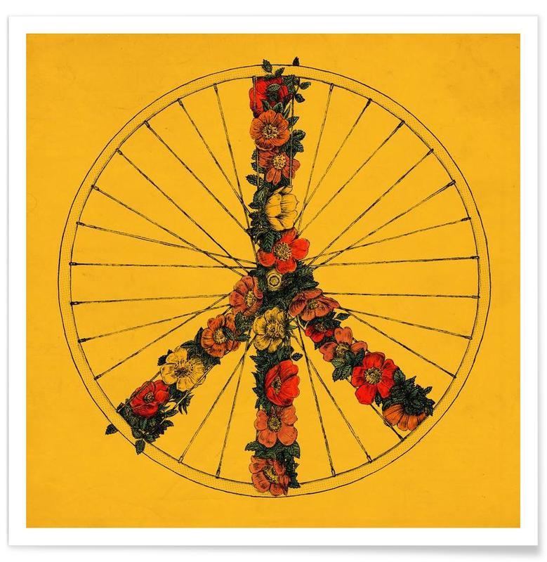 Vélos, Symboles, Peace & Bike affiche