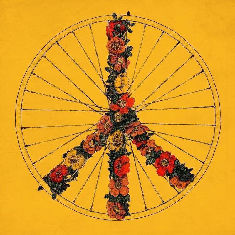 Peace & Bike -Leinwandbild
