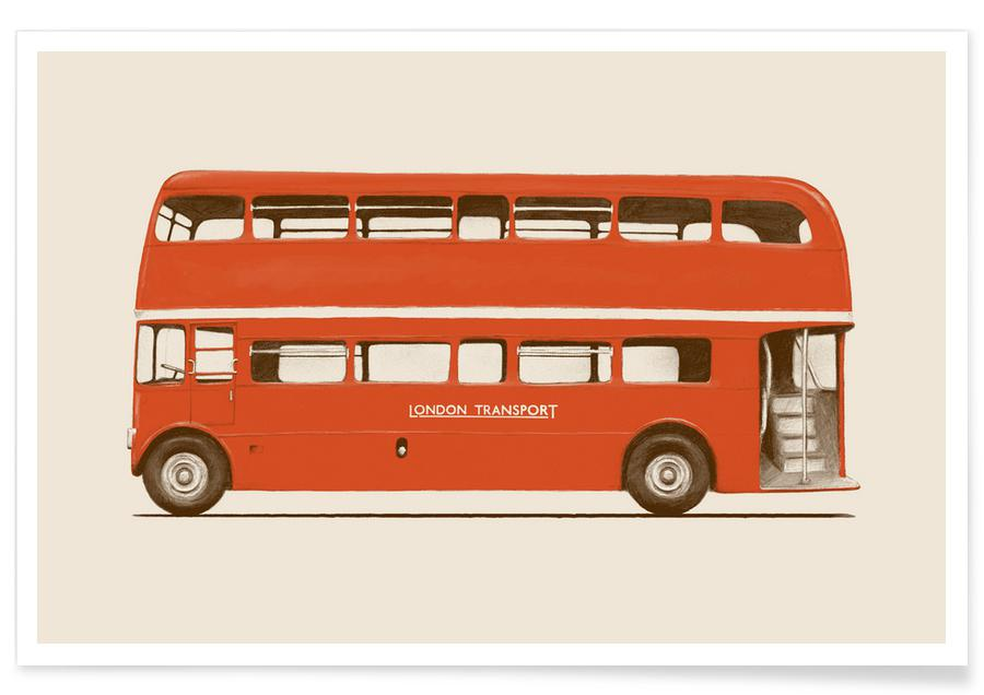 Voitures, Voyages, Red London Bus affiche