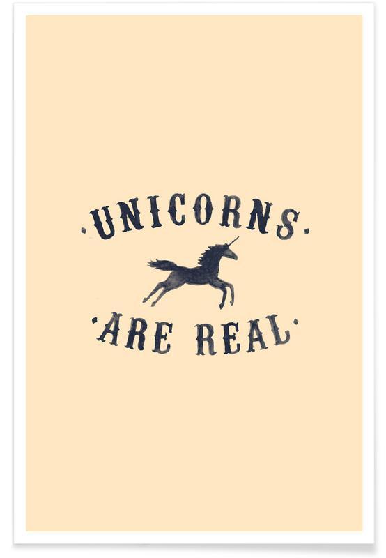 Humor, Enhjørninger, Unicorns Are Real I Plakat