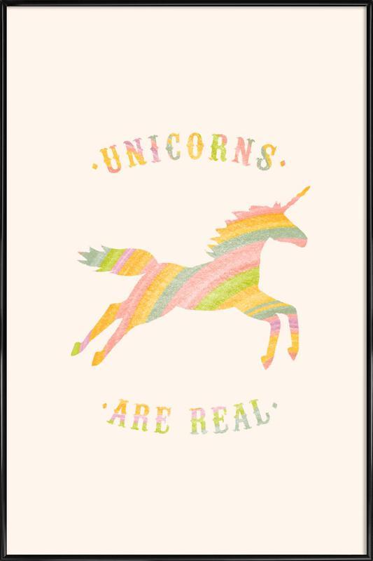 Unicorns Are Real II -Bild mit Kunststoffrahmen