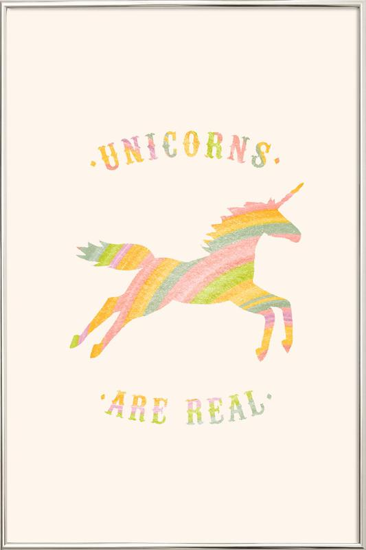 Unicorns Are Real II Poster in Aluminium Frame