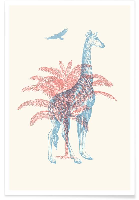 Girafes, Palmiers, Giraffe affiche
