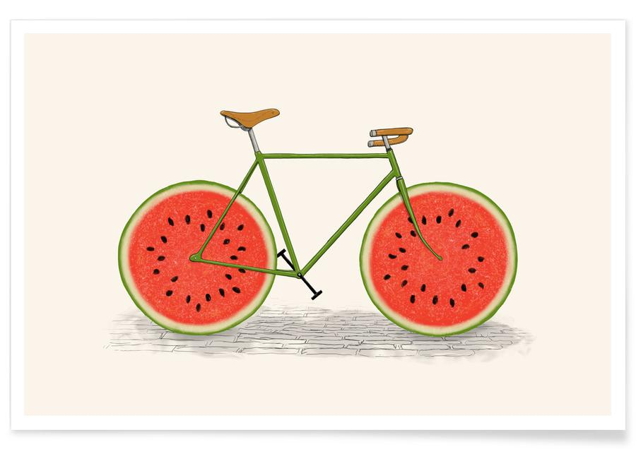 Bicycles, Watermelons, Juicy Poster