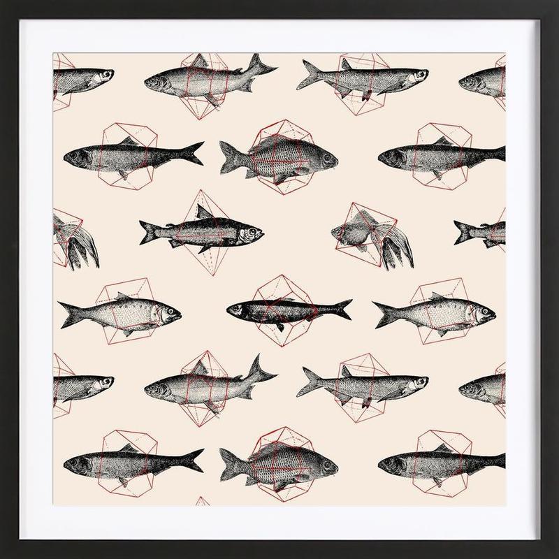 Fishes in Geometrics Framed Print