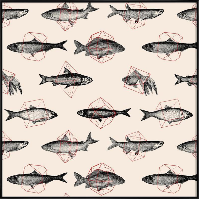 Fishes in Geometrics Framed Poster