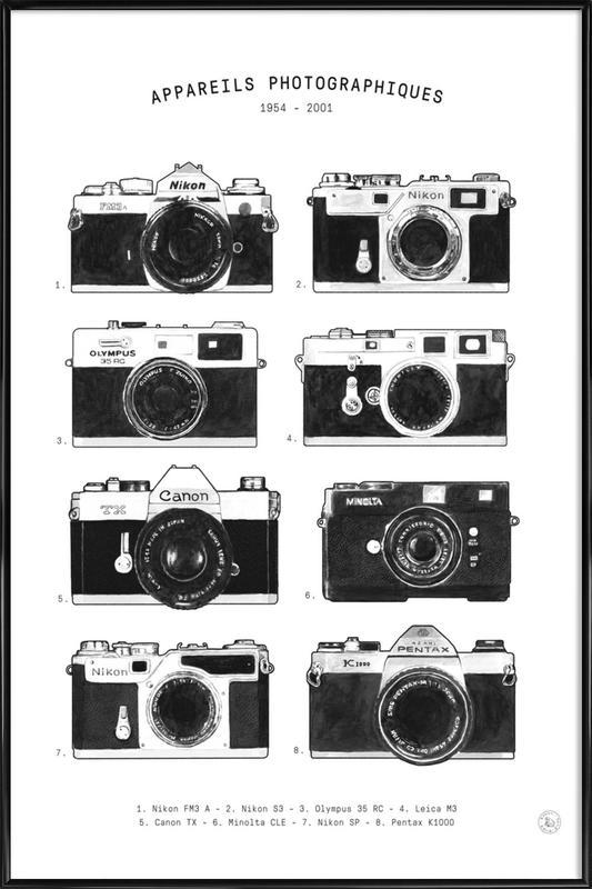 Appareils Photographiques no border Framed Poster