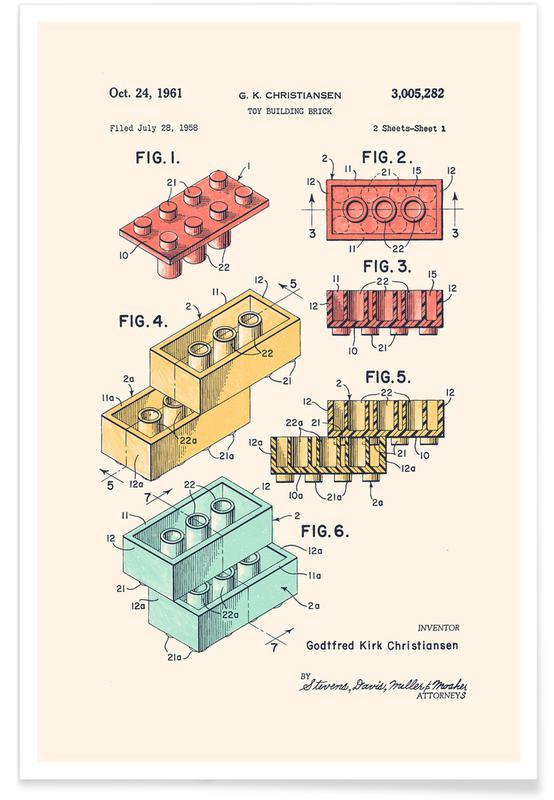 Børneværelse & kunst for børn, Lego PRINT Colors Plakat