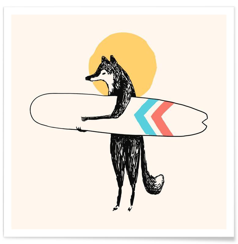 Art pour enfants, Surf, Loups, Here Comes The Sun affiche