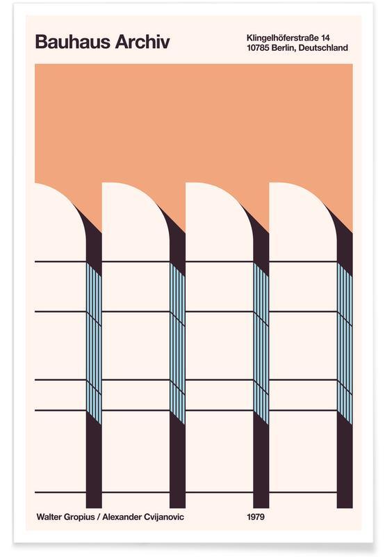 Berlin, Bauhaus Archiv Print Borders Plakat