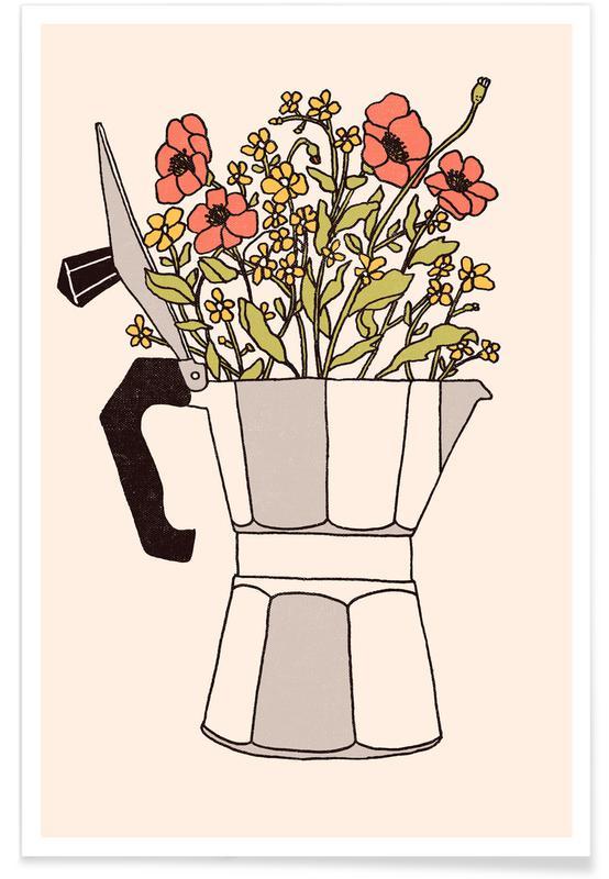 Kaffee, Moka Flowers Colors -Poster