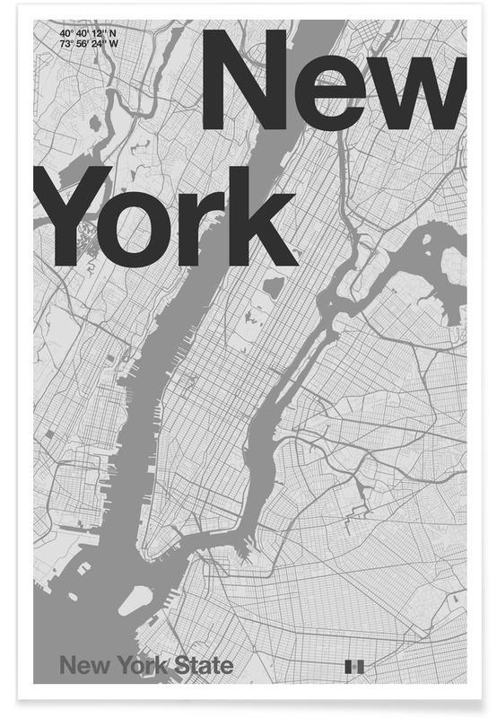 Schwarz & Weiß, New York, Stadtpläne, New York Minimal Map -Poster
