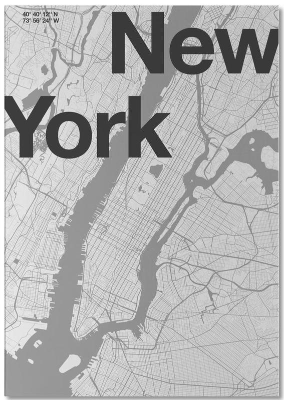 New York, Noir & blanc, Cartes de villes, New York Minimal Map bloc-notes