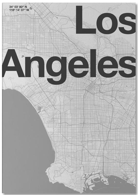 Los Angeles, Noir & blanc, Cartes de villes, La Minimal Map bloc-notes