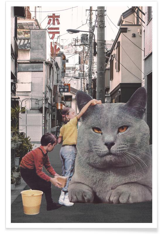 Humour, Chats, Children Washing A Giant Cat In Tokyo Streets affiche