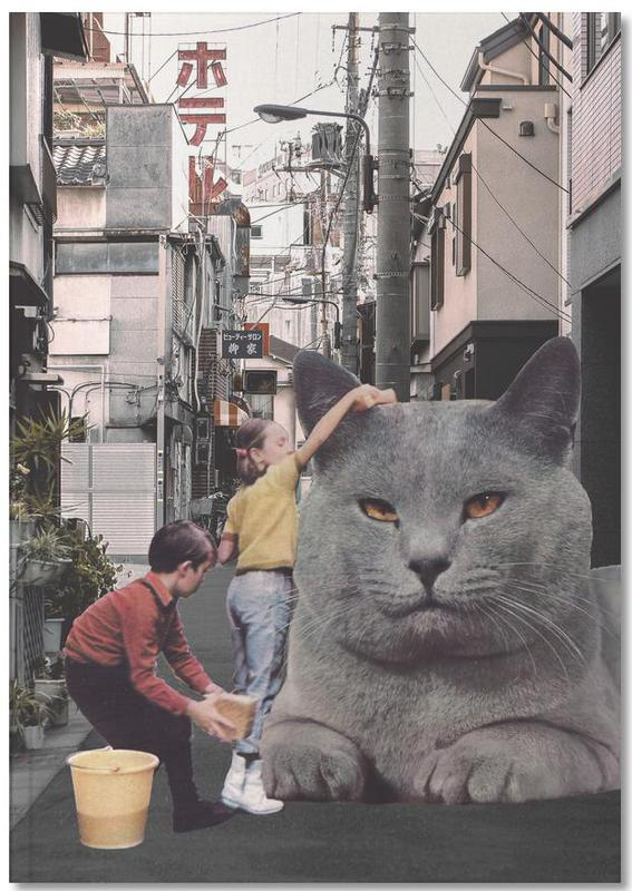 Funny, Cats, Children Washing A Giant Cat In Tokyo Streets Notebook
